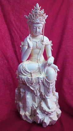 Kwan Yin Resin Statue with Ivory Finish - Clearance Items by Tibetan Treasures