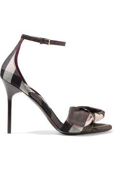 Burberry - Bow-embellished Checked Canvas Sandals - Antique rose - IT36.5