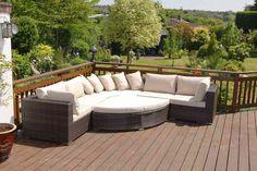 Rattan Garden Sofa Set - Large Brown 6 Piece 8 Seater Rattan Corner Sofa Set