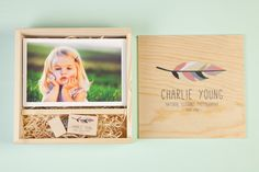 Photo Slide Box Square Pine | USB2U for Photographers