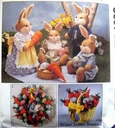 McCALLS Craft Sewing Pattern - 8607 - BUNNY FAMILY  + WREATH AND CENTERPIECE