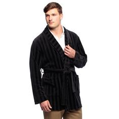 Men's Black Knit Velour Smoking Jacket Cheap