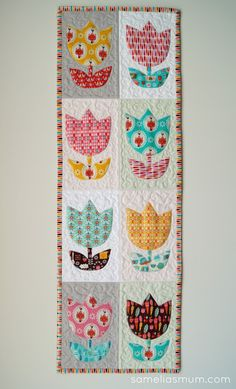 tulip quilted table runner