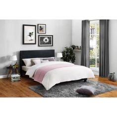 Mainstays Upholstered Bed, Multiple Colors, Queen, Black