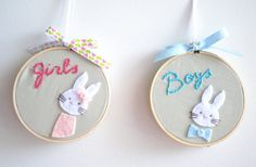 2 Embroidered Hoop Art Boys and Girls signs Wall Decor by TheMemis, $40.00