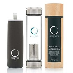 Pure Zen Tea Tumbler with Infuser | BPA Free Double Wall Glass Travel Tea Mug with Stainless Steel Filter | Dishwasher Safe Leakproof Bottle with Strainer For Loose Leaf Tea and Fruit Water 13 Ounce * To view further for this item, visit the image link.
