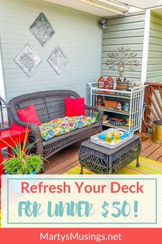 It IS possible to decorate your deck for summer for under $50! This refresh is filled with flowers, some paint and using what you already have. #martysmusings Diy Outdoor Furniture, Building A Deck, Home Projects, Outdoor Spaces, Breakfast Recipes, Diy Home Decor, Home And Garden, Couch, Flowers