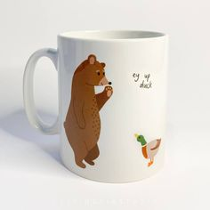 Ceramic ey up duck bear and duck illustration mug – And so to Shop Duck Illustration, Nottingham, New Home Gifts, Recyclable Packaging, Gifts For Him, White Ceramics, Unique Gifts, How To Draw Hands, Recycling
