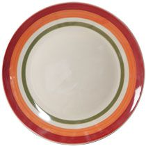 "Bulk Fall Tricolor Striped Stoneware Dinner Plates, 10½"" at DollarTree.com"