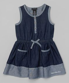 Look at this Denim Pocket Dress - Infant, Toddler & Girls by Calvin Klein Jeans Little Girl Outfits, Little Girl Dresses, Toddler Outfits, Kids Outfits, Girls Dresses, Fashion Kids, Little Fashion, Young Fashion, Infant Toddler