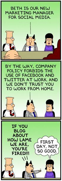 Dilbert: Social Media Expert 1st day #cartoon