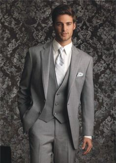 2016 Suits Two buttons Light gray Notch Lapel Groom Tuxedos Groomsmen Men Wedding Suits Prom Clothing (Jacket+Pants+Vest+Tie) Wedding Men, Wedding Suits, Wedding Tuxedos, Wedding Ideas, Wedding 2017, Buy Suits, Men's Suits, Formal Dresses For Men, Vest And Tie