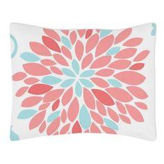 Sweet Jojo Designs Emma Standard Pillow Sham in White/Turquoise