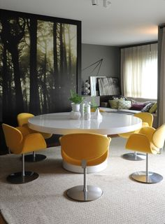 Contemporary Dining Room Design With White Sleek Pedestal Table And Yellow Upholstered Swivel Armchairs Ideas: Contemporary Sao Paulo Residence With Gray Interiors Dining Room Inspiration, Interior Design Inspiration, Home Interior Design, Interior Decorating, Home Design, Room Interior, Decorating Ideas, Decor Ideas, Dining Room Design