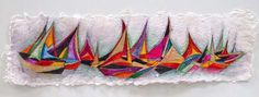 Sail Boats, 6x22, original,on hand made paper