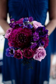 We love this bold and rich color scheme! Follow @WeddingWire for more wedding bouquet inspiration. {Photo: Style Perfect Weddings and Events}