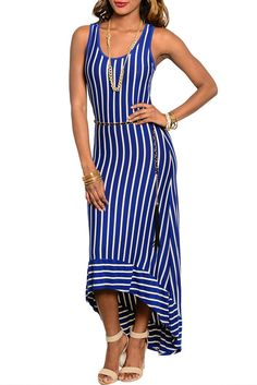Royal Cream Classy Pin Stripe Demure Full Length Dress W/ Rope Chain Belt