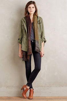 Military jacket, tee, scarf, dark skinnies, ankle boot. Fall staples.