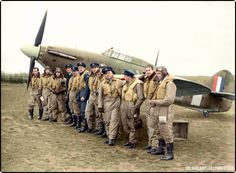 American pilots of No. 71 (Eagle) Squadron RAF gathered in front of one of their Hawker Hurricanes at Kirton-in-Lindsey, Lincolnshire, 17 March 1941.