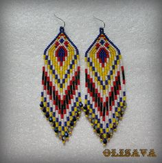 Long Indian style beads earrings ,  tribal style, boho style, Native American…