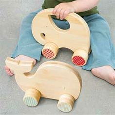 Wooden Push Toys (Whale + Elephant)