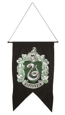 Dark-colored banner with crest. Polyester banner, cord, and plastic pole. 20 inches x 30 inches.