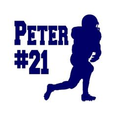 Football vinyl decal personalized with Football team, player's number, and player's name. Great for car or truck windows, laptops, lockers, mirrors, and more! Can be applied on any SMOOTH surface. Vinyl colors come in Blue, Pink, or White. #football #decal