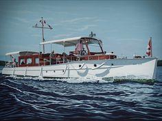1914 50' Minett motor yacht RITA restored and relaunched in Lake Muskoka Ontario in 2017.