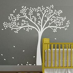 Vinyl Tree Wall Decal Tree Wall Sticker Fall Tree Wall Decor Nursery Wall Decal Baby Nursery Room Art Decor White by WallsUp Tree Decal Nursery, Tree Decals, Nursery Wall Art, Nursery Room, Baby Room, Child Room, Girl Room, Family Wall Decor, Tree Wall Decor