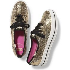 Keds x kate spade new york Champion Triple Glitter ($95) ❤ liked on Polyvore featuring shoes, sneakers, gold glitter, shiny shoes, white sneakers, glitter shoes, keds sneakers and keds shoes