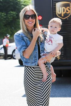 Kristin Cavallari in a striped skirt) and Camden are a shopping duo