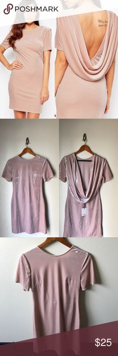 NWT Lashes of London Blush Pink Cowl Back Dress A Brand by Asos. NWT. Size US 8. Beautiful velvety soft material. It's perfect for the Holidays. Cowl Back shape. UK 12 which is a US 8 (medium). Lashes of London Dresses Mini
