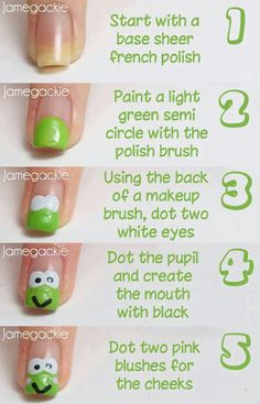 Frog Nail Art Tutorial - Another Version of a Frog - manicure (With images) Nail Art Diy, Diy Nails, Manicure, Cute Nail Art Designs, Nail Polish Designs, Pretty Designs, Love Nails, Pretty Nails, Animal Nail Art