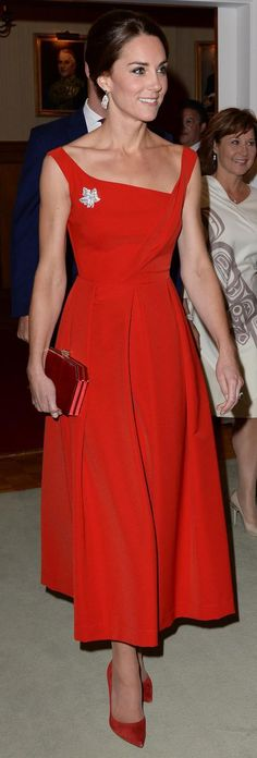 Kate Middleton Duchess of Cambridge attend a reception at Government House in Victoria, in #preenbythorntonbregazzi midi dress with #gianvitorosssi suede pumps! #celebstyleguide from @Celeb_StyleGuide's closet