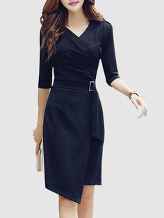 Buy V-Neck Asymmetric Hem Plain Bodycon Dress online with cheap prices and discover fashion Bodycon Dresses at Fashionmia.com.