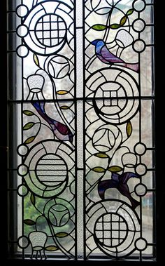 Stained Glass Window with Birds - Art Nouveau. Stained Glass Birds, Stained Glass Designs, Stained Glass Projects, Stained Glass Patterns, Stained Glass Windows, Art Nouveau, Mosaic Art, Mosaic Glass, Glass Vase