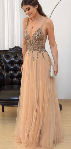 Cheap prom dresses Champagne Prom Dress, V-neck Evening Gowns,Tulle Prom Dresses,Sequins Beaded Prom Gowns,Prom Dresses,