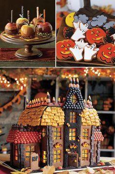 halloween candy house w/cheez its Halloween Desserts, Fröhliches Halloween, Halloween Food For Party, Halloween Cakes, Holidays Halloween, Halloween Decorations, Halloween Dessert Table, Halloween Buffet, Halloween Baking