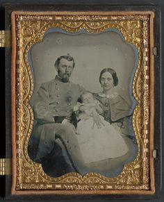 [Unidentified soldier in Confederate uniform with wife and baby] (LOC) by The Library of Congress, via Flickr