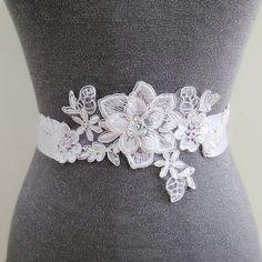 White floral sash, Jeweled sash, Lace belt, Rhinestone bridal sash, Wedding gown sash, Dress sash, Crystal belt, Satin beaded sash belt