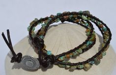 Turquoise Leather Healing Double Wrap Bracelet large by CrystalMeB