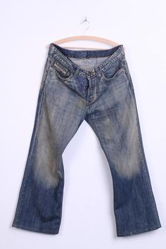 Diesel Industry Mens 36 Trousers Jeans Cotton Dirty Blue Embroided Pattern - RetrospectClothes
