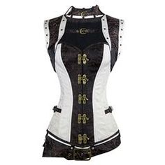 Charmian Women's Plus Size Spiral Steel Boned Renaissance Vintage Steampunk Bustier Corset Top with Jacket and Belt Brown-White Small – King Lingeria – Love Lingerie Plus Size Steampunk, Moda Steampunk, Costume Steampunk, Style Steampunk, Steampunk Clothing, Gothic Steampunk, Victorian Gothic, Gothic Lolita, Bustiers