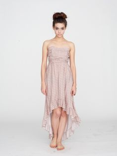 Strapless sweetheart hi-lo dress