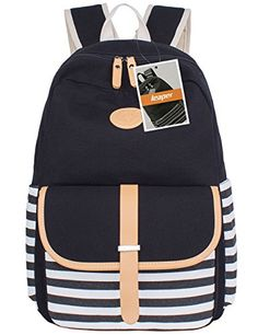 Leaper Thickened Canvas Laptop Bag Shoulder Daypack School Backpack Causal Style Handbag L Black1 *** Want to know more, click on the image.