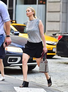 Another leggy display: Jennifer also looked incredible when she stepped out the day before...