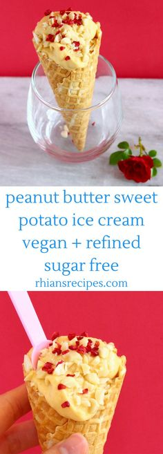 This No-Churn Vegan Peanut Butter Sweet Potato Ice Cream is easy to make, secretly healthy and requires just 3 ingredients! Also refined sugar free and gluten-free. Best Vegan Desserts, Vegan Treats, Healthy Dessert Recipes, Vegan Recipes, Free Recipes, Sweet Potato Dessert, Ice Cream Smoothie, Vegan Shakes, Vegan Baking