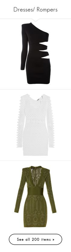 """""""Dresses/ Rompers"""" by gvldenjxss ❤ liked on Polyvore featuring dresses, balmain, black, one shoulder dress, cut out cocktail dresses, form fitting short dresses, short mini dress, one shoulder cocktail dress, scalloped dresses and short dresses"""