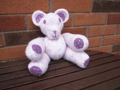 Knitted bear knitted teddy pink lilac white teddy by LatharnaBears, £27.50