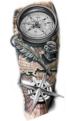 Forarm Tattoos, Cool Forearm Tattoos, Map Tattoos, Tattoo Ink, Best Sleeve Tattoos, Tattoo Sleeve Designs, Tattoo Designs Men, Clock Tattoo Design, Compass Tattoo Design